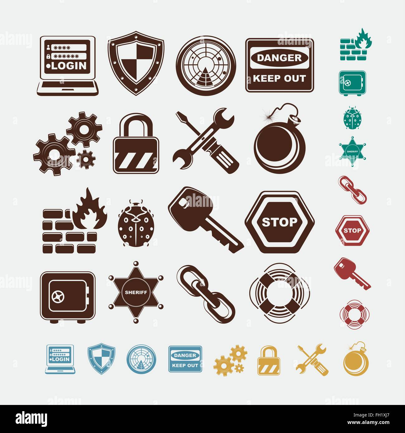 safe icons in five colors - Stock Image