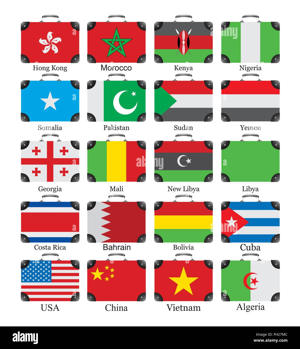 Flags of the world on bags - Stock Image