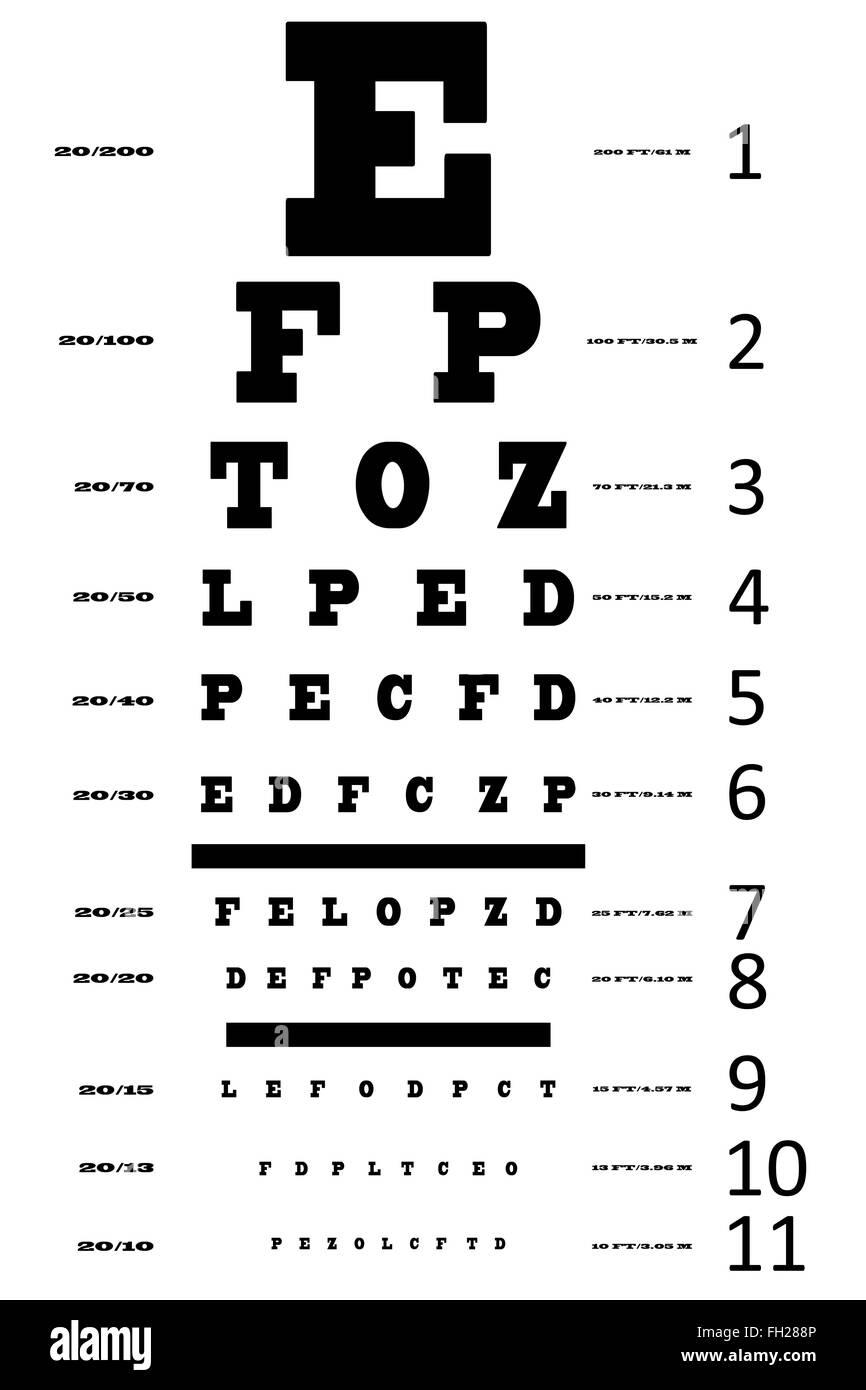 An eye sight test chart - Stock Image