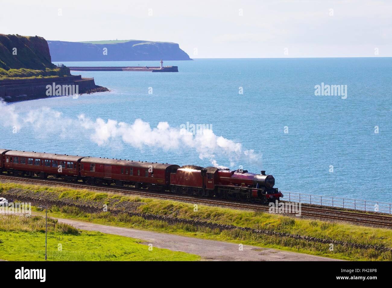 Steam locomotive LMS Jubilee Class 45699 Galatea. Tanyard Bay, Parton, Whitehaven, Cumbria, England, UK. - Stock Image
