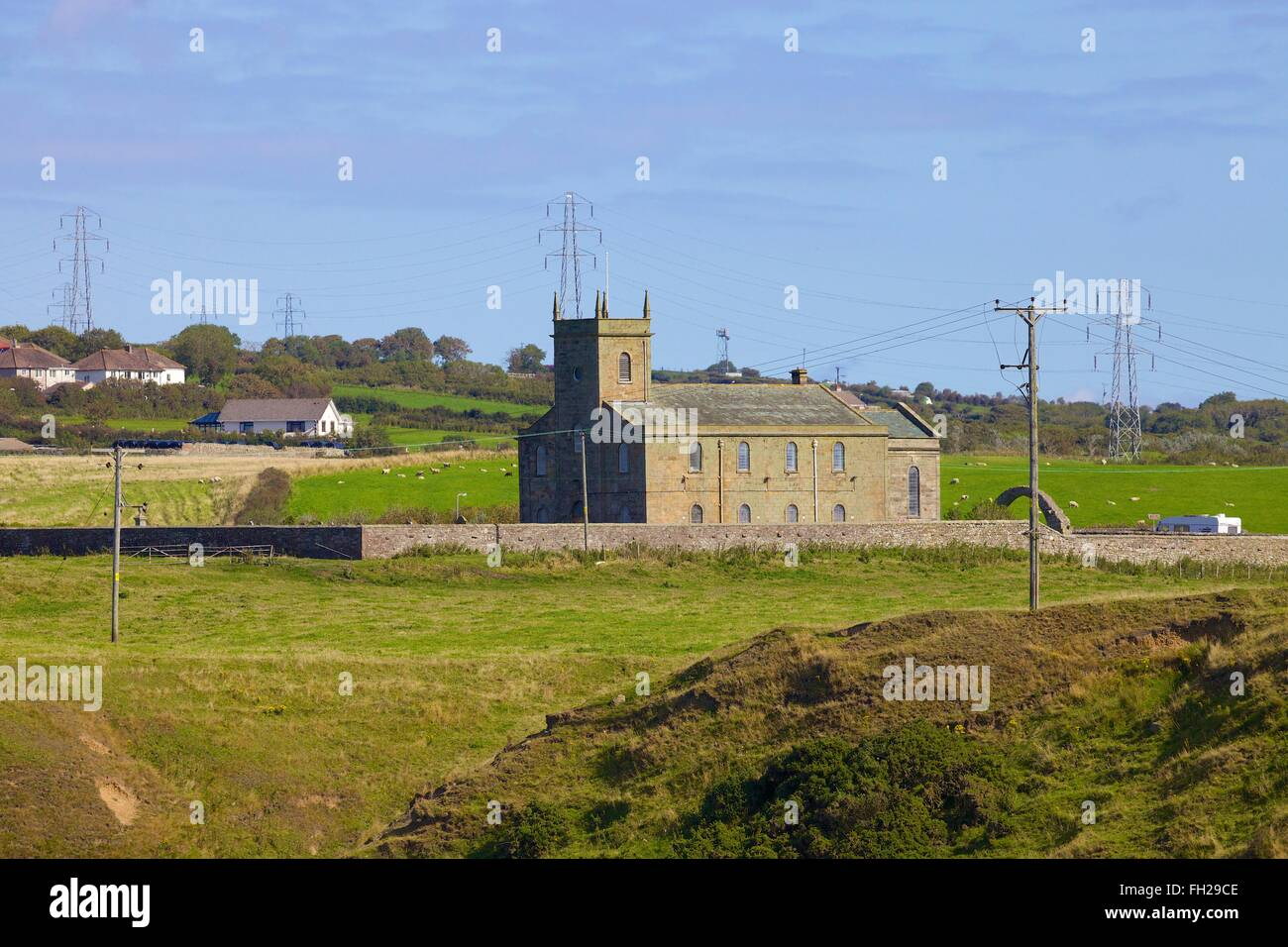 St Bridget's Church, Moresby. Between Parton & Lowca, Whitehaven, Cumbria, England, United Kingdom. - Stock Image
