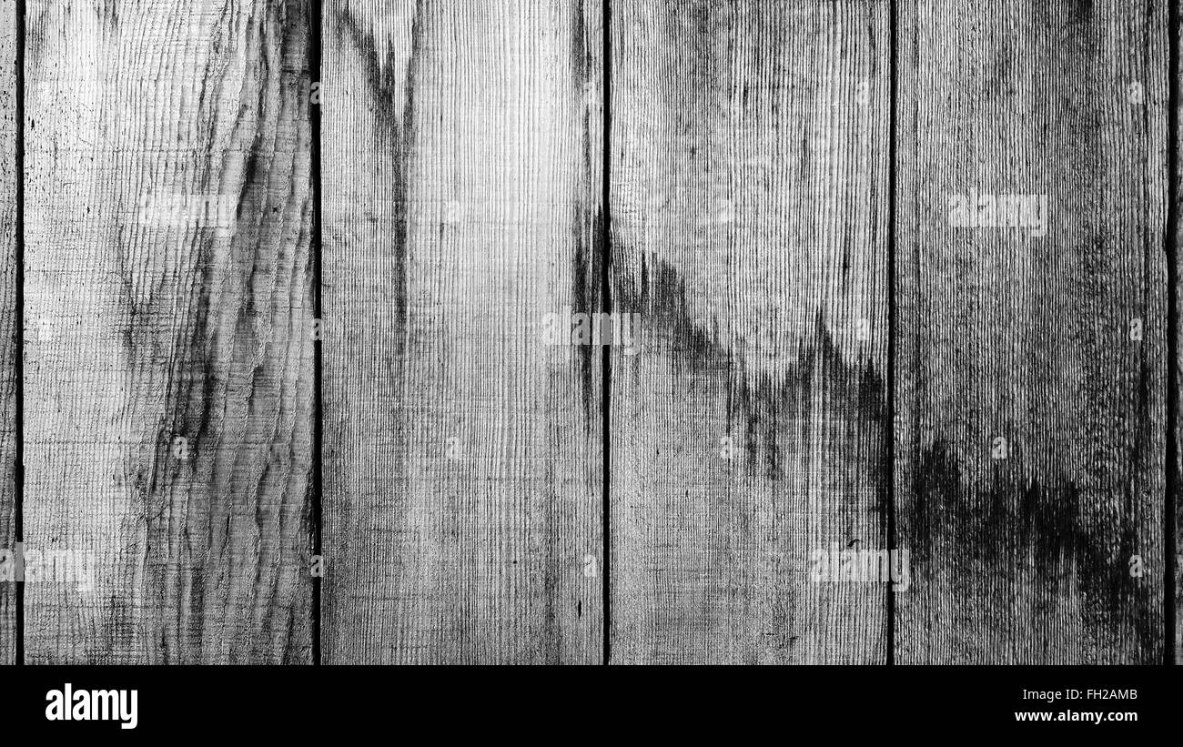 close up of old wood planks texture in black and white - Stock Image