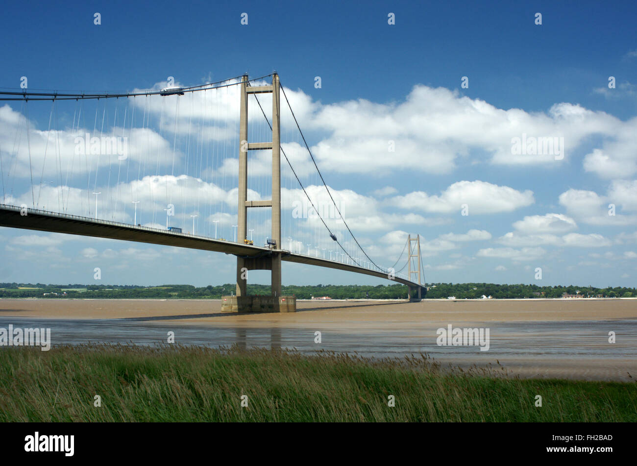 Humber Bridge in landscape format looking North West from South bank of the River Humber - Stock Image