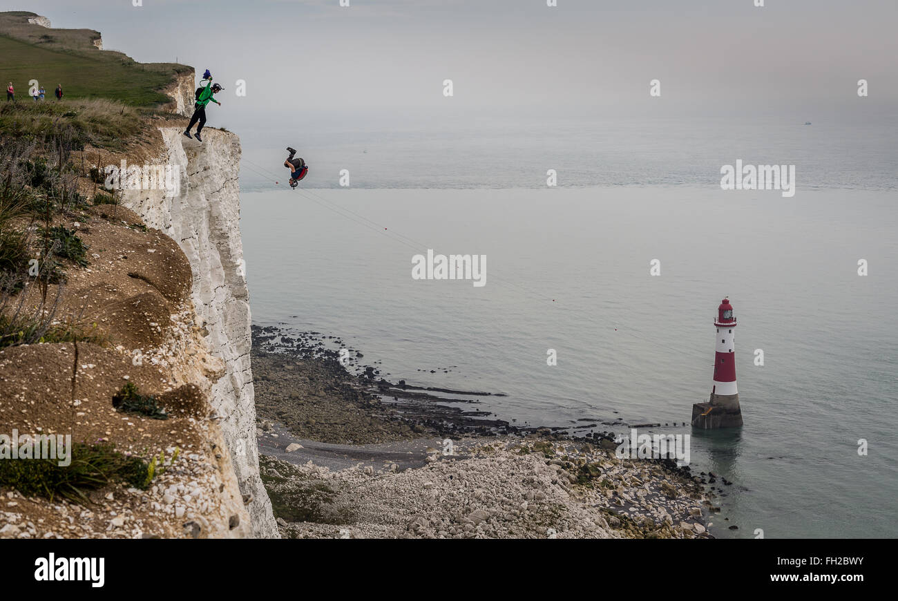 Base jumpers on Beachy Head, Eastbourne - Stock Image
