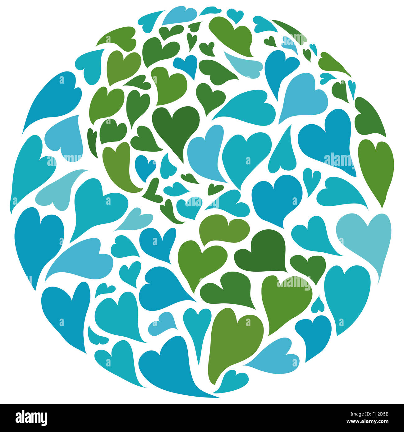 Planet earth made of hearts. Symbol of peace. America in the center. - Stock Image