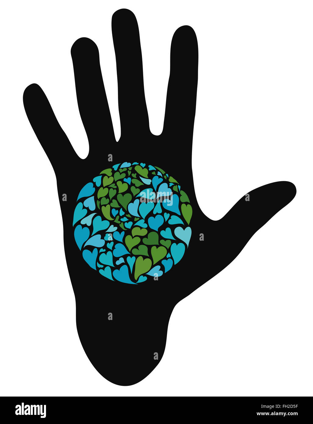Hand showing planet earth made of hearts. Symbol of peace. America in the center. - Stock Image
