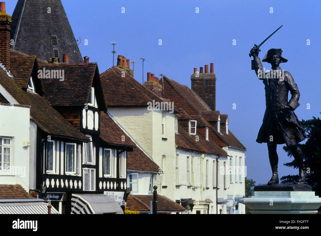 Statue of Major General James P. Wolfe on the Green at Westerham, Kent, UK - Stock Image