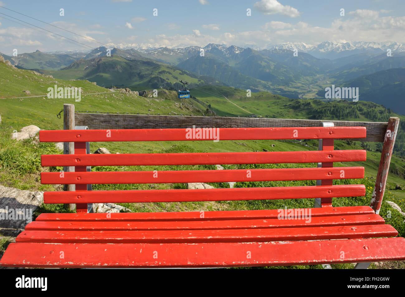 Cable car at Kitzbüheler Horn Alps Kitzbühel. Austria. Europe - Stock Image