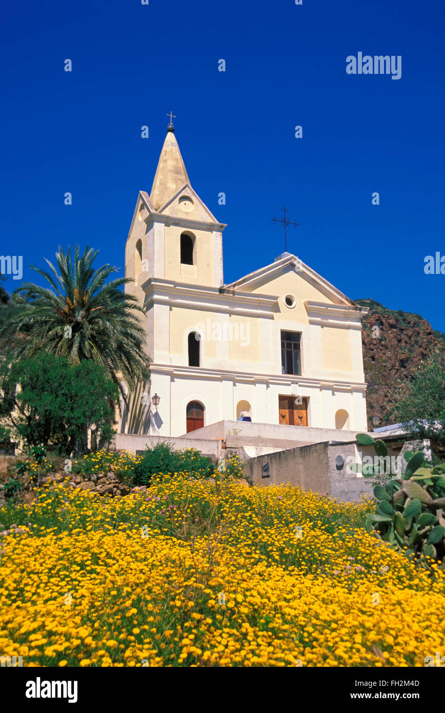 Panarea island, San Pietro church, Aeolian Islands, Sicily, Italy, Europe - Stock Image