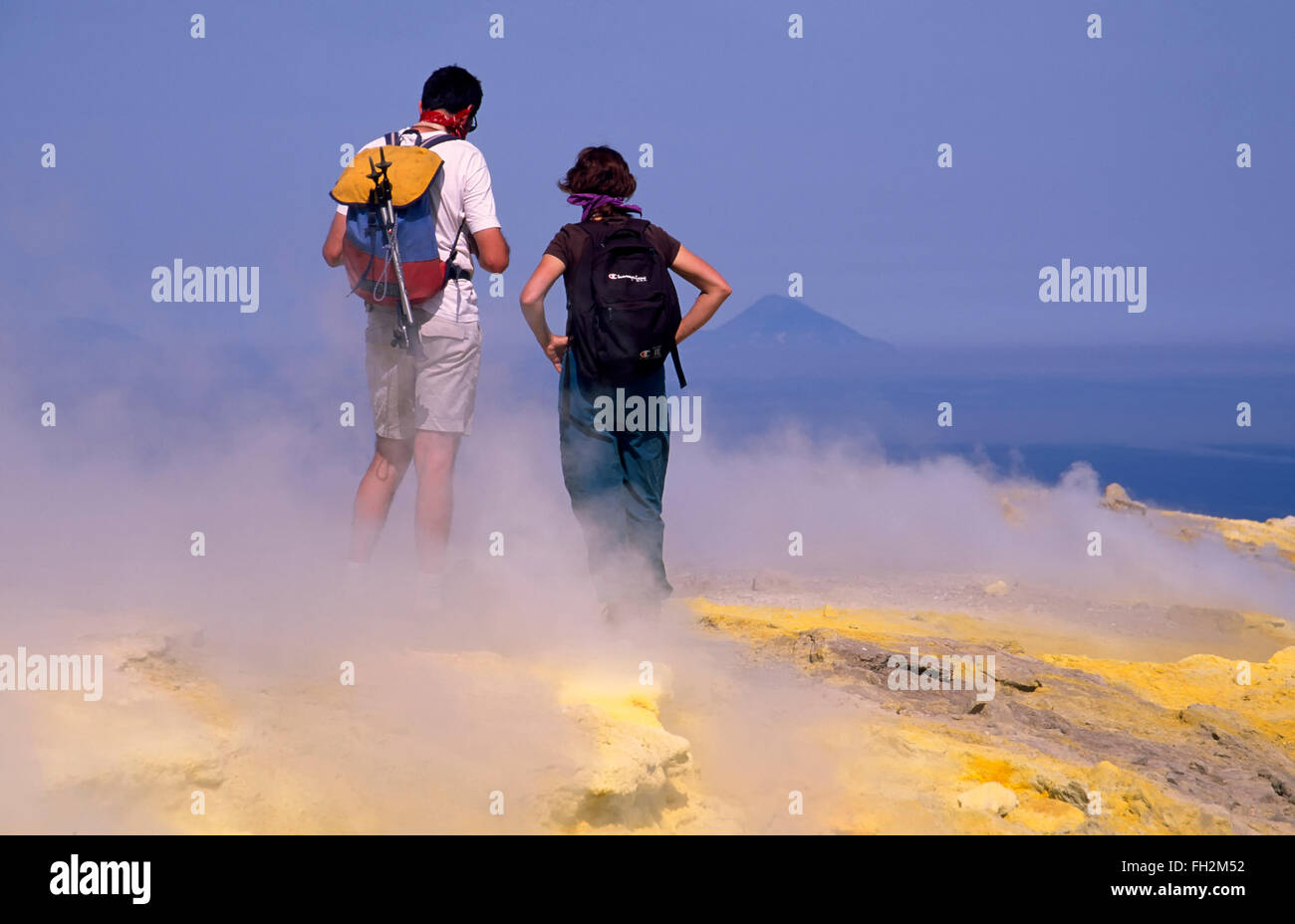 Vulcano island, Tourists on Gran Cratere, Aeolian Islands, Sicily, Italy, Europe - Stock Image