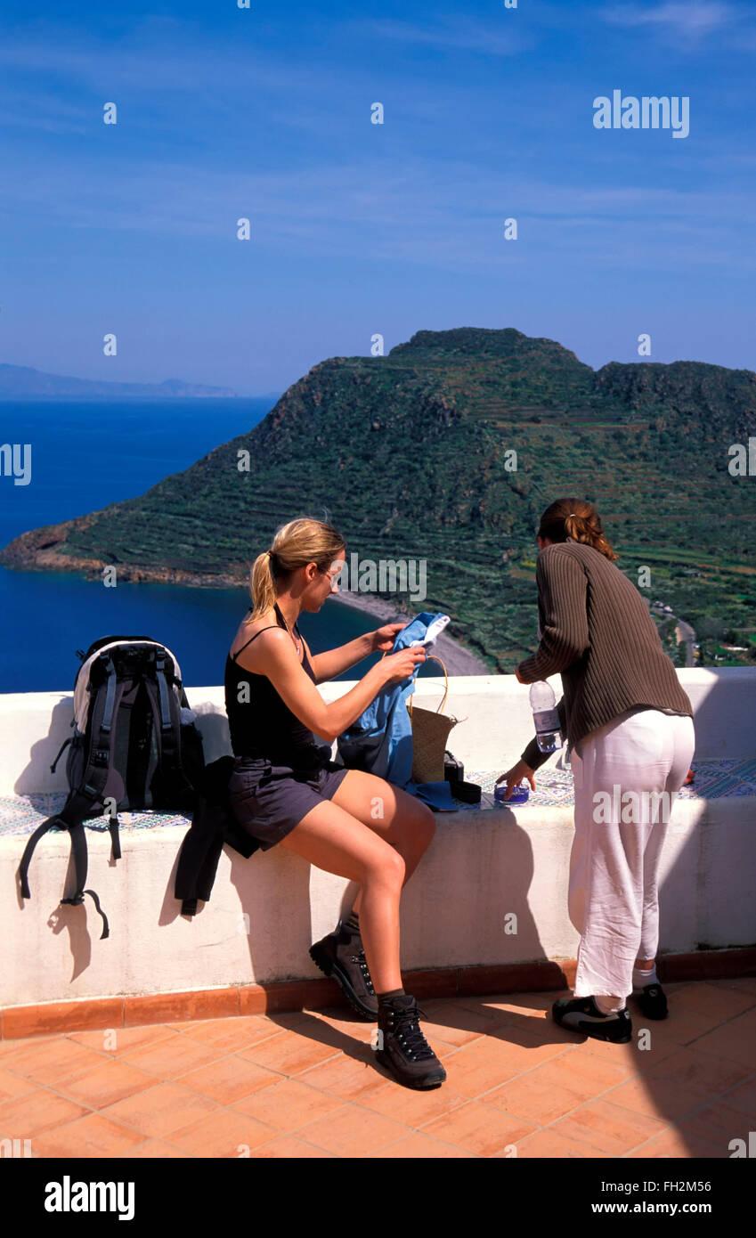 Filicudi island, hiking stop, Aeolian Islands, Sicily, Italy, Europe Stock Photo