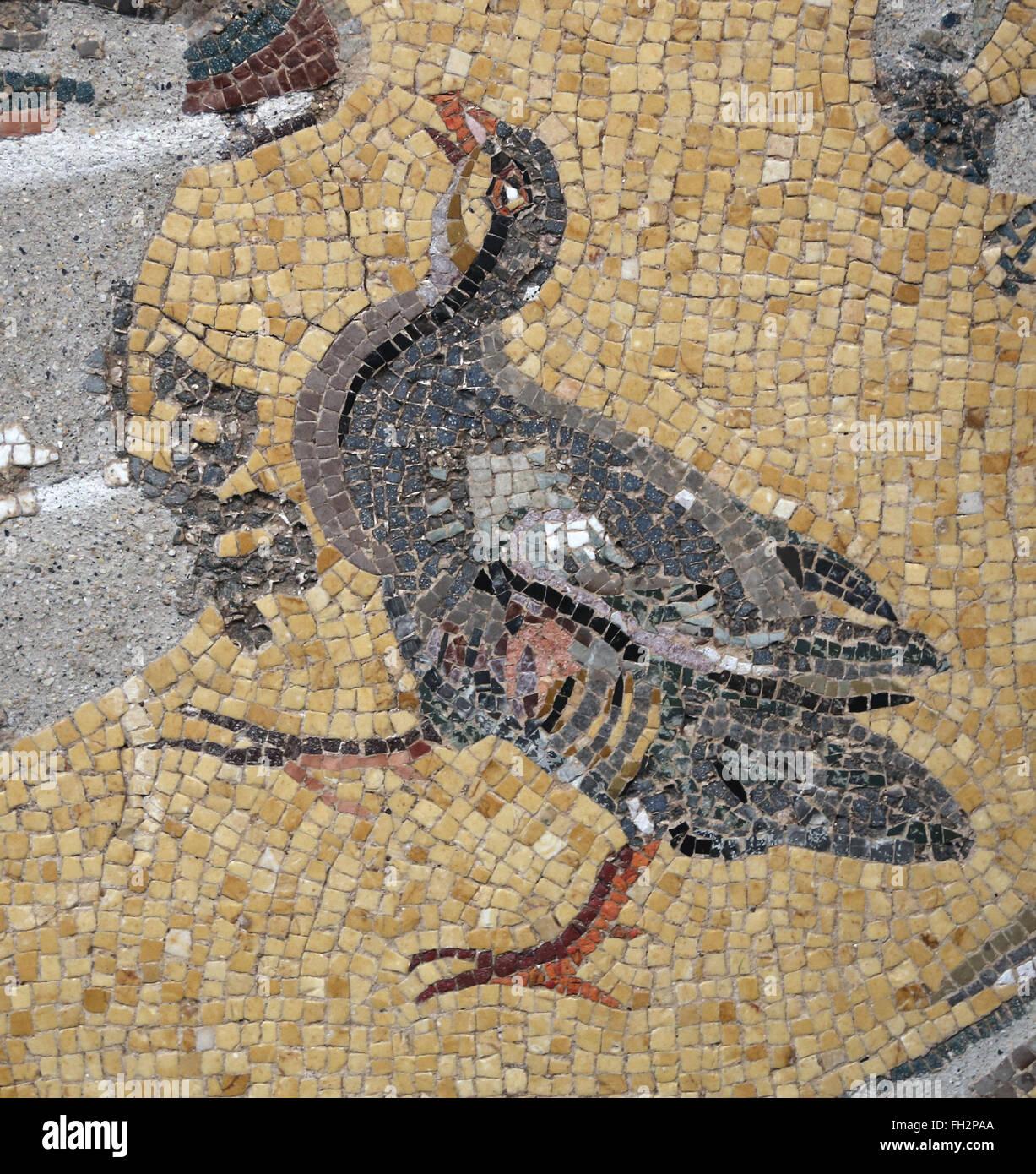 Birds around a vase. Daphne, suburb of Antioch, Turkey. 3rd century AD. Louvre Museum. Paris. France. - Stock Image