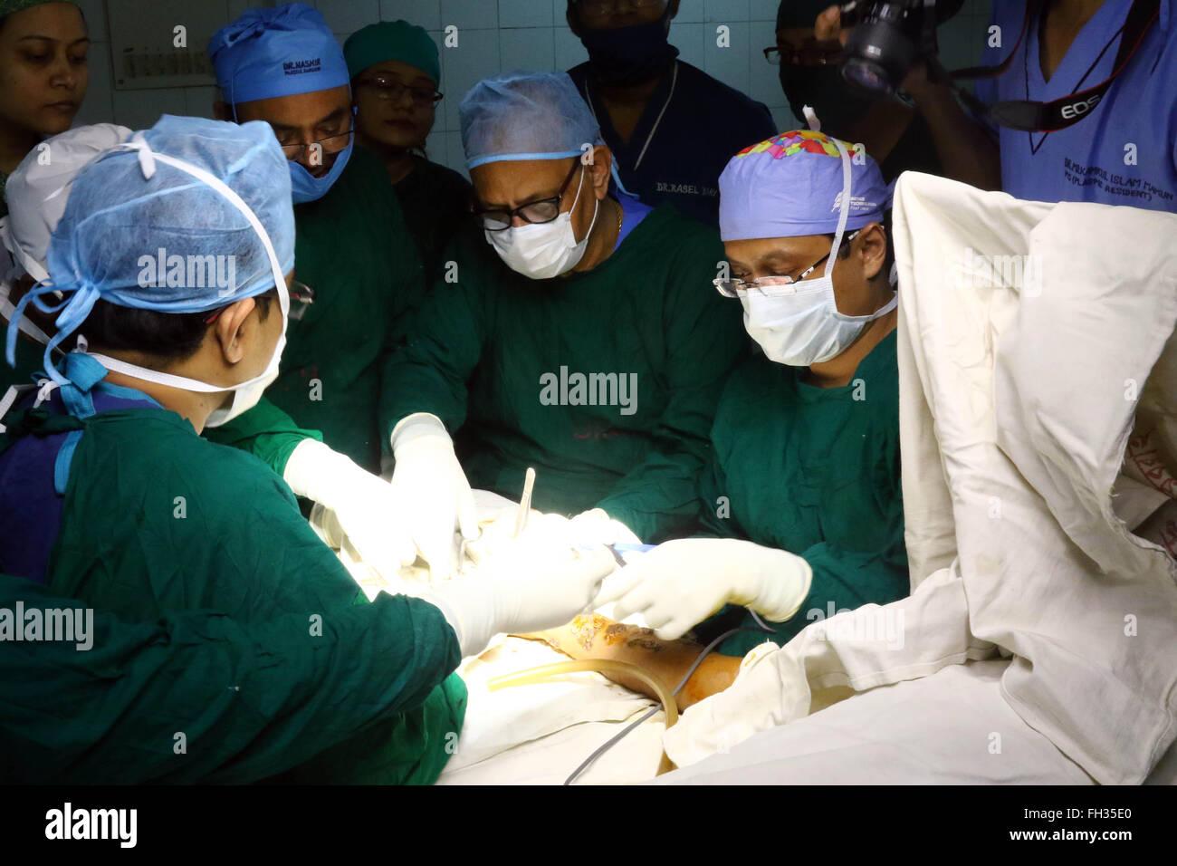 "Dhaka, Bangladesh  23rd February, 2016  Doctors are dressing ""Tree"
