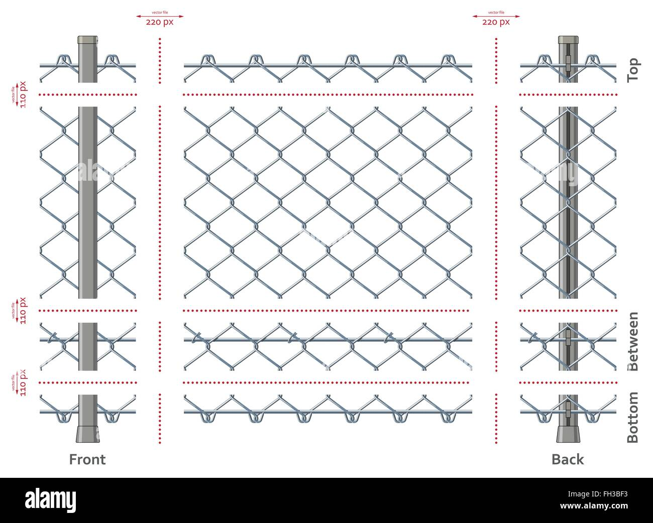 Highly detailed prison or refugee camp fence - Stock Vector