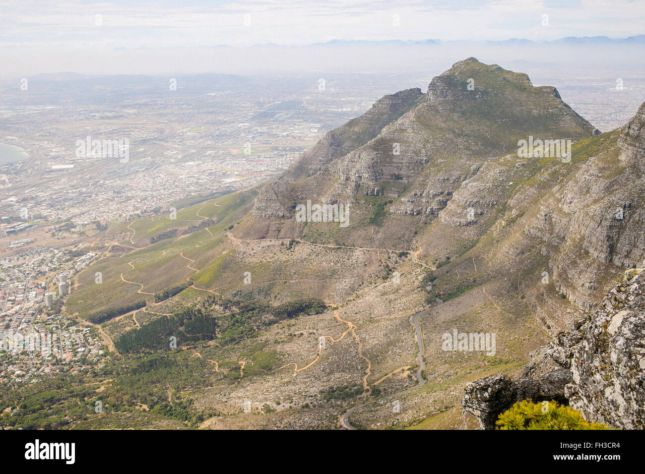 Devil's Peak from summit of Table Mountain in Cape Town - Stock Image