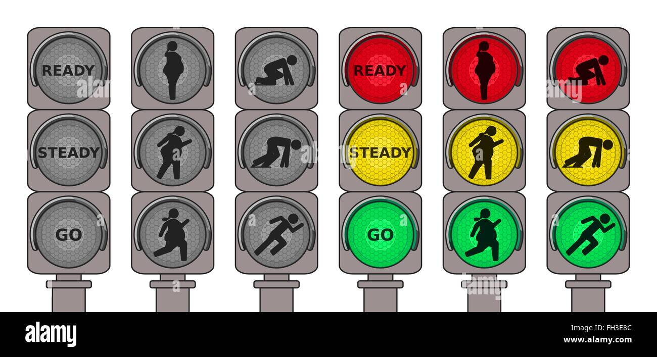 Traffic lights for running pedestrians Stock Vector