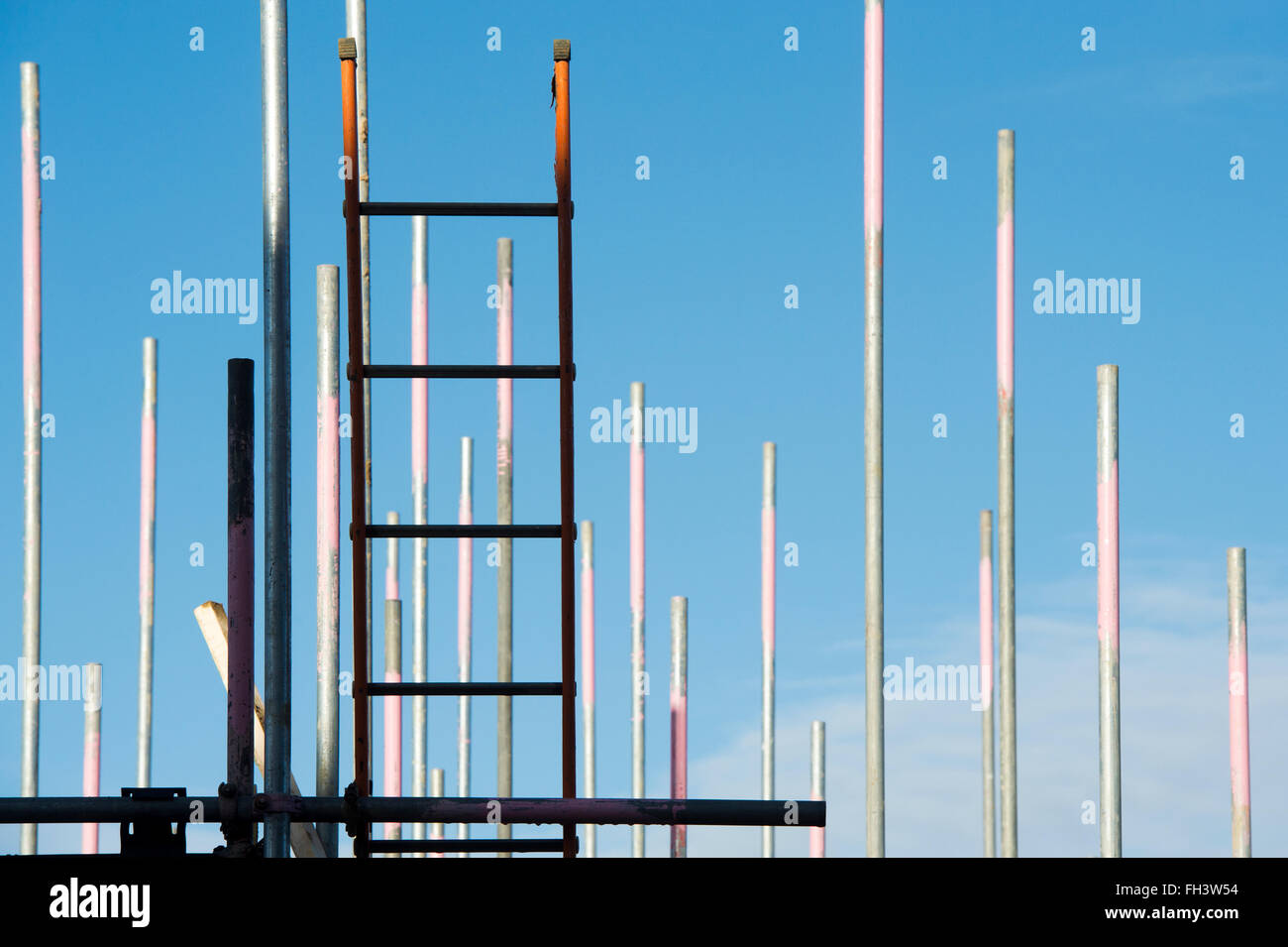 Scaffolding ladders and blue sky abstract Stock Photo