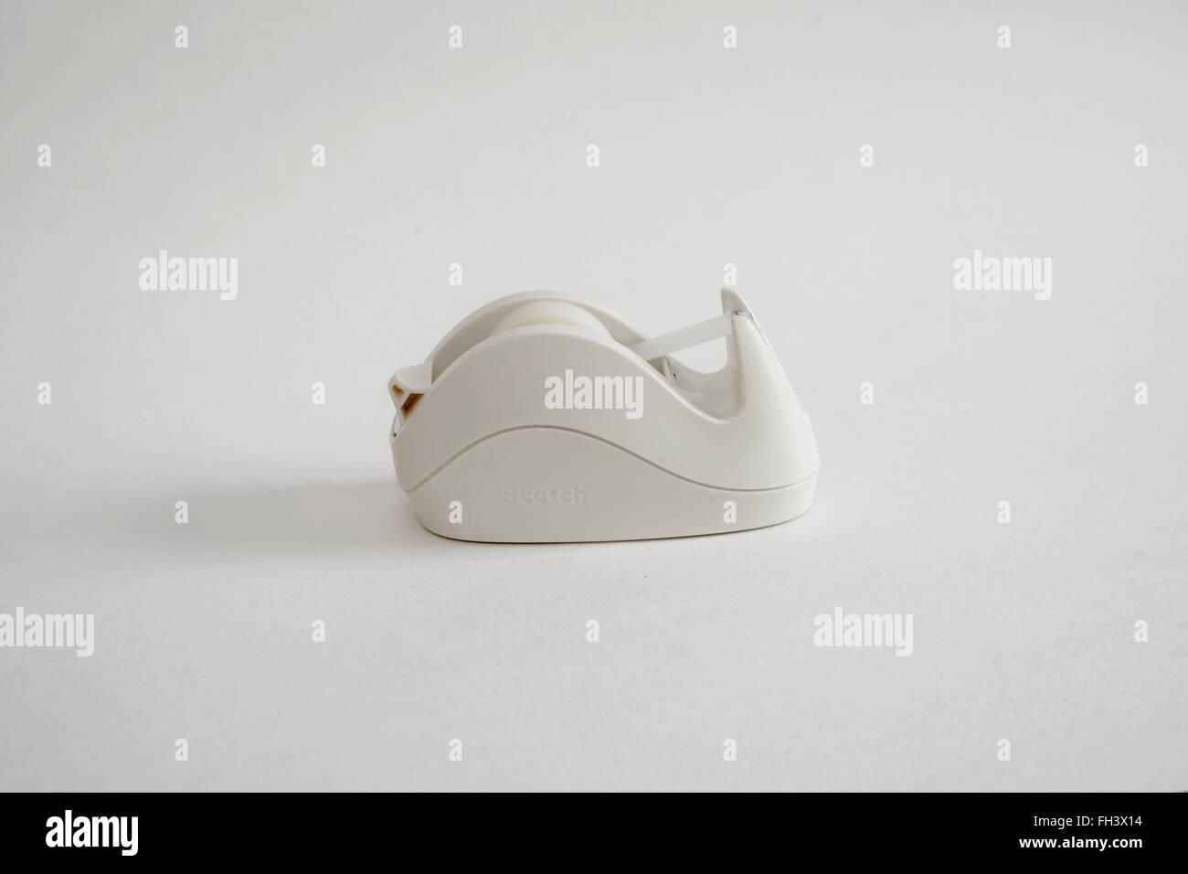 Elegant white tape dispenser - Stock Image