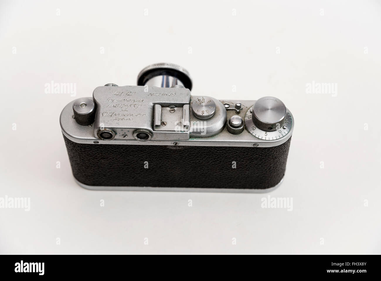 Back view of  rare  FED camera  made in  child labor commune  of the NKVD / KGB / in the 30s of the 20th century - Stock Image