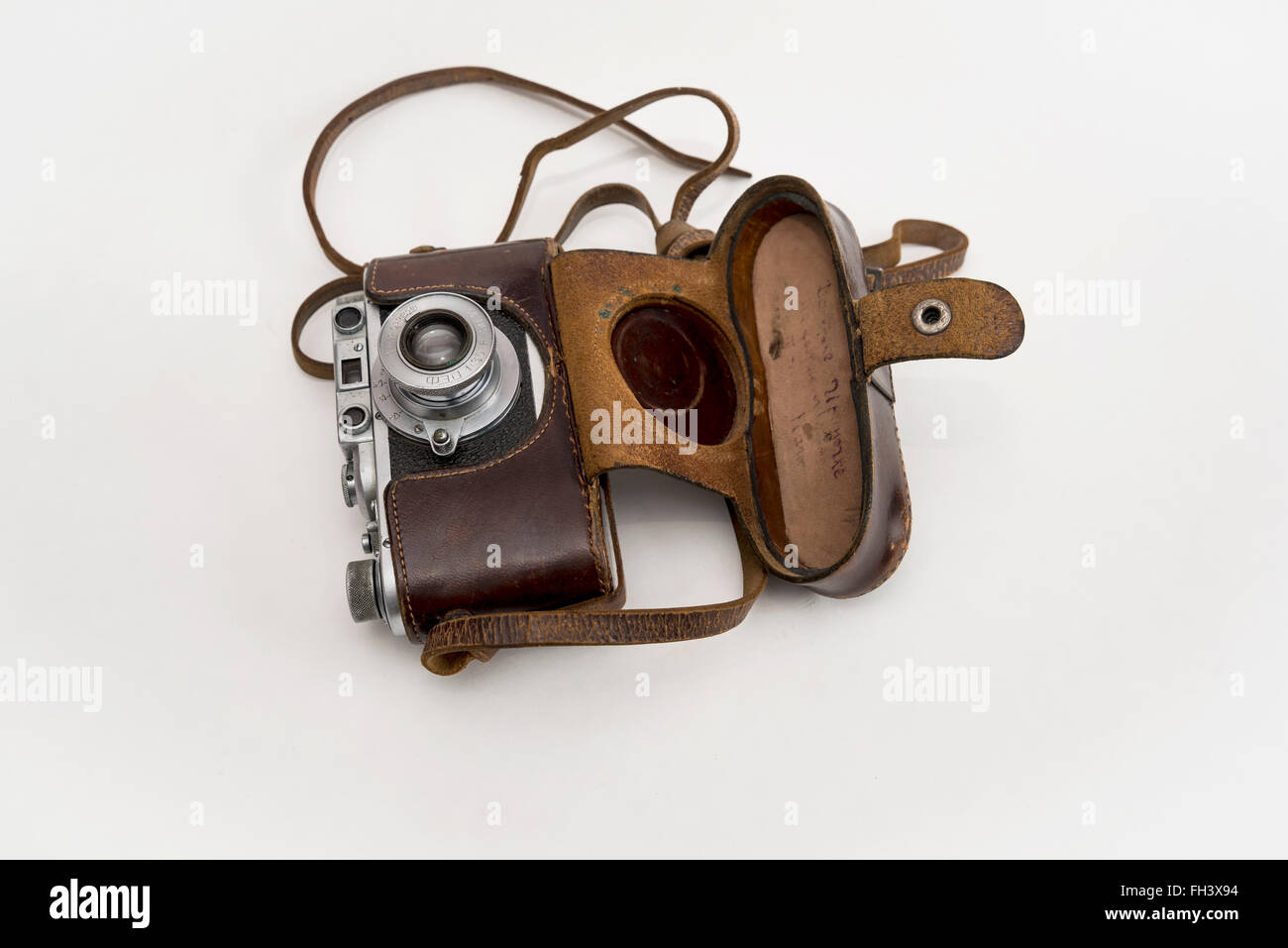 """""""Stalinist"""" FED camera, made in  child labor commune  of the NKVD / KGB / in the 30s of the 20th century in leather Stock Photo"""