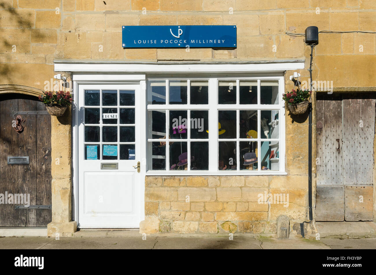 Louise Pocock Millinery hat shop in Chipping Campden, Cotswolds - Stock Image