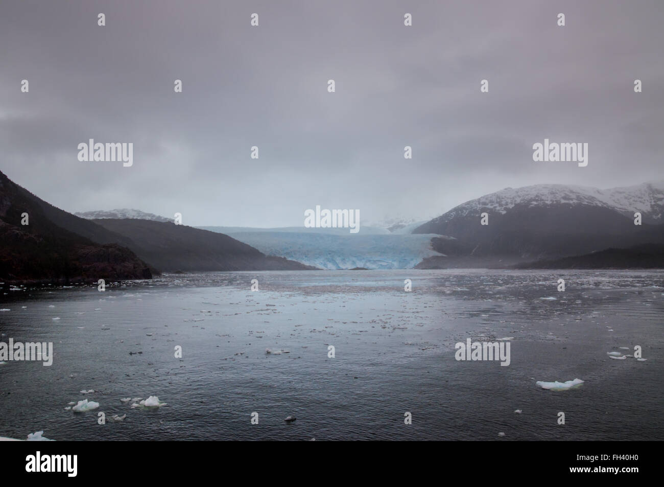 Amalia Glacier on the edge of the Sarmiento Channel, Skua Glacier, Bernardo O'Higgins National Park, Chile - Stock Image
