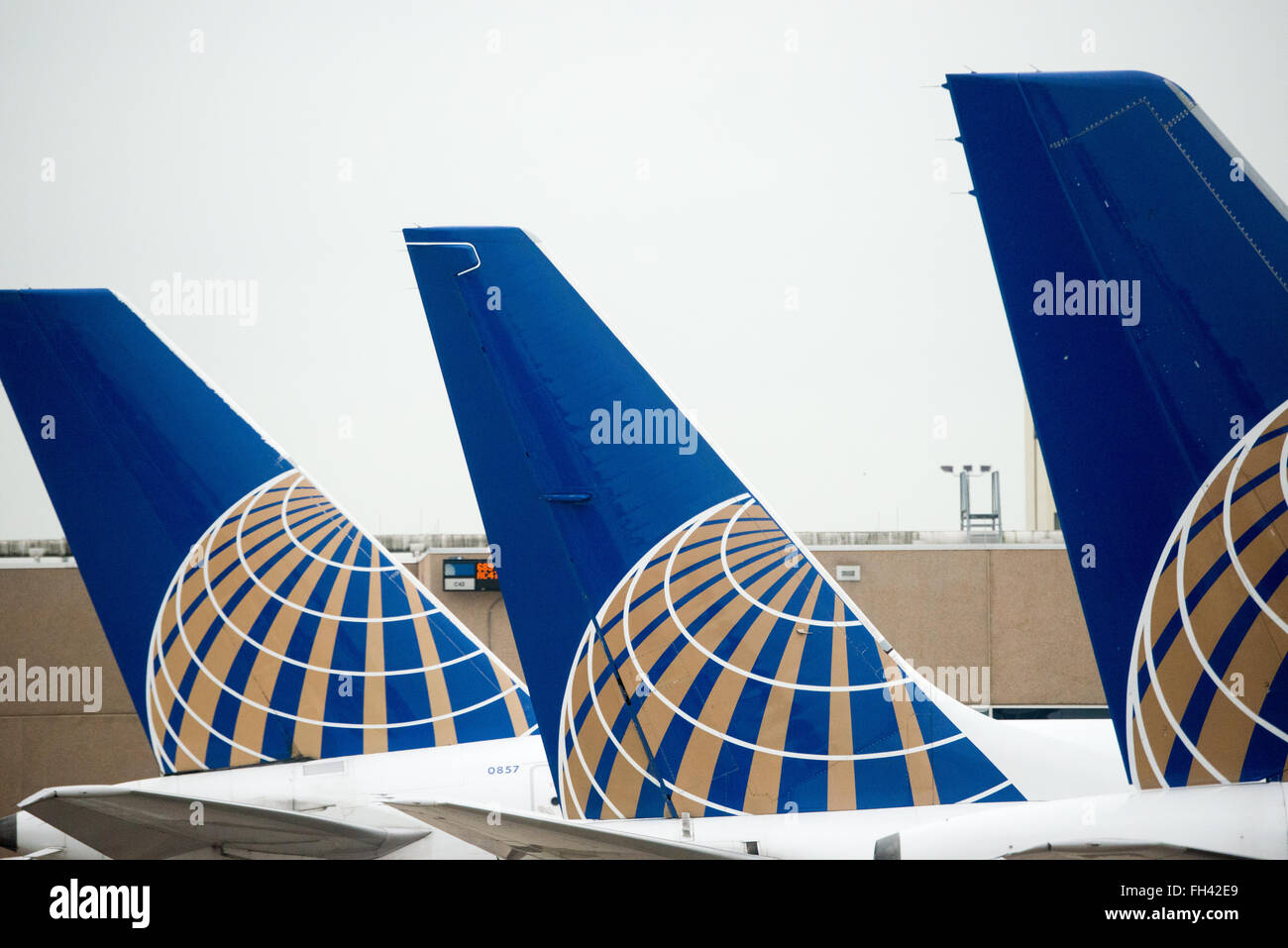 A row of three tails of United Airlines planes lined up at the gate at an airport. Each tail has the new United - Stock Image