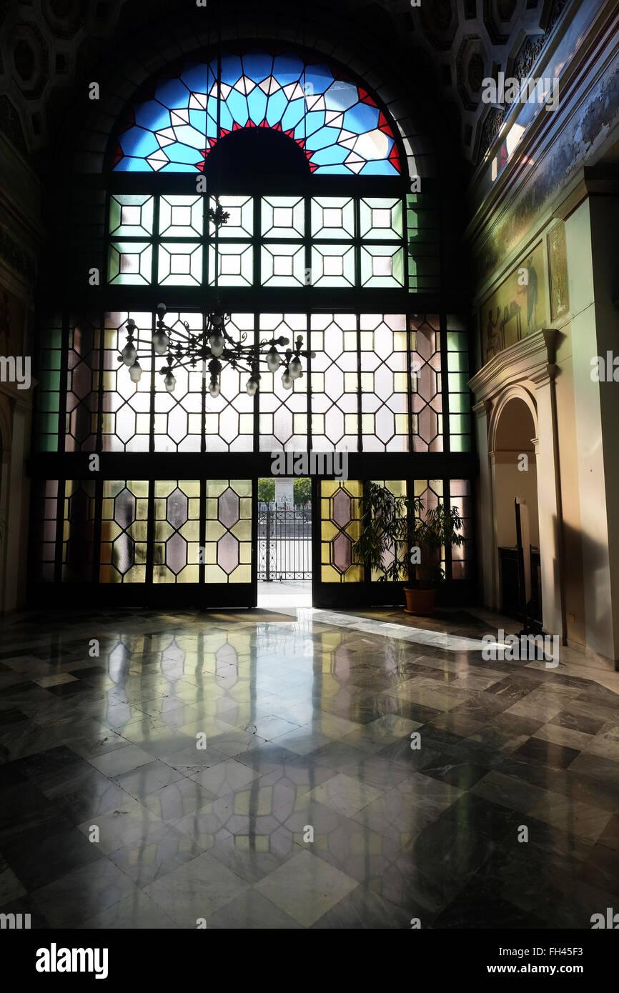 View of main entrance of the Politeama Garibaldi Theatre  in Palermo, Sicily, Italy Stock Photo