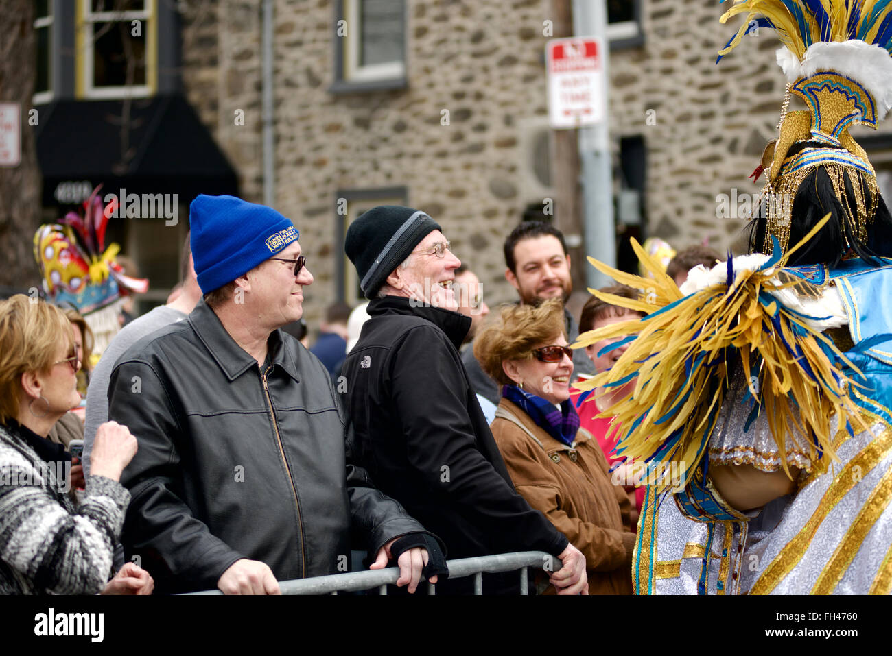 2nd annual Mummers' Mardi Gras parade brings many to Manayunk to see Mummers of the String Band Association - Stock Image