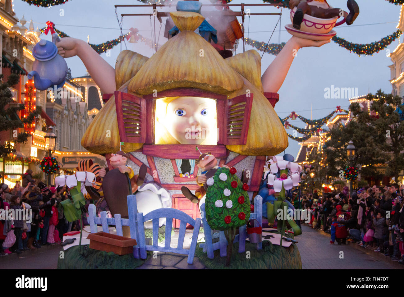 Disney Christmas Parade.Disney Christmas Parade Marne La Valee France Stock Photo