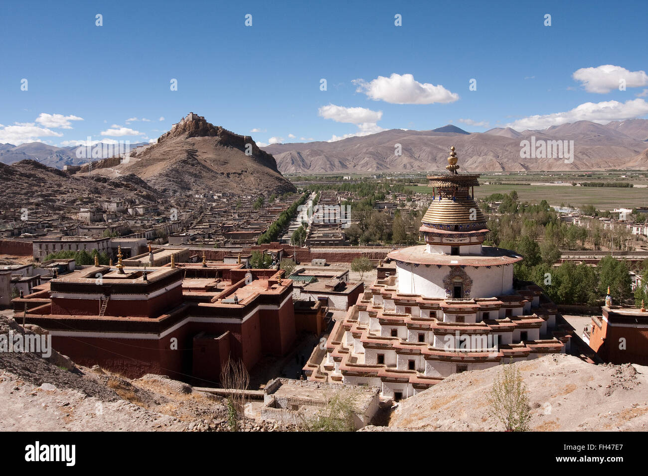 Gyantse Dzong fortress of Gyantse overlooking the Pelko Chode monastery Stock Photo