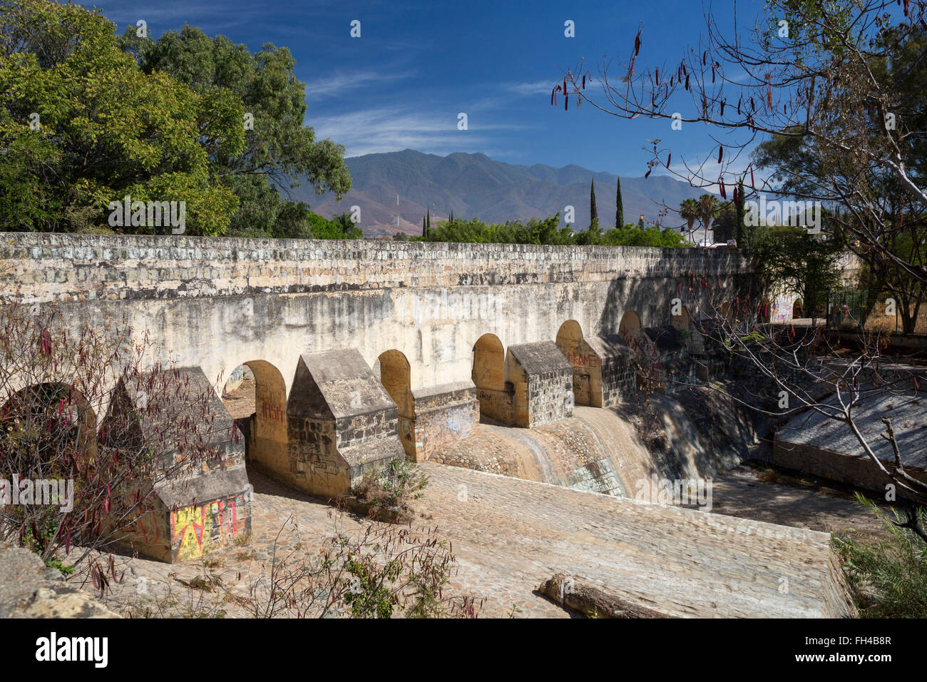 Oaxaca, Mexico - The Acueducto la Cascada (La Cascada Aqueduct) was part of a water supply system for Oaxaca. - Stock Image