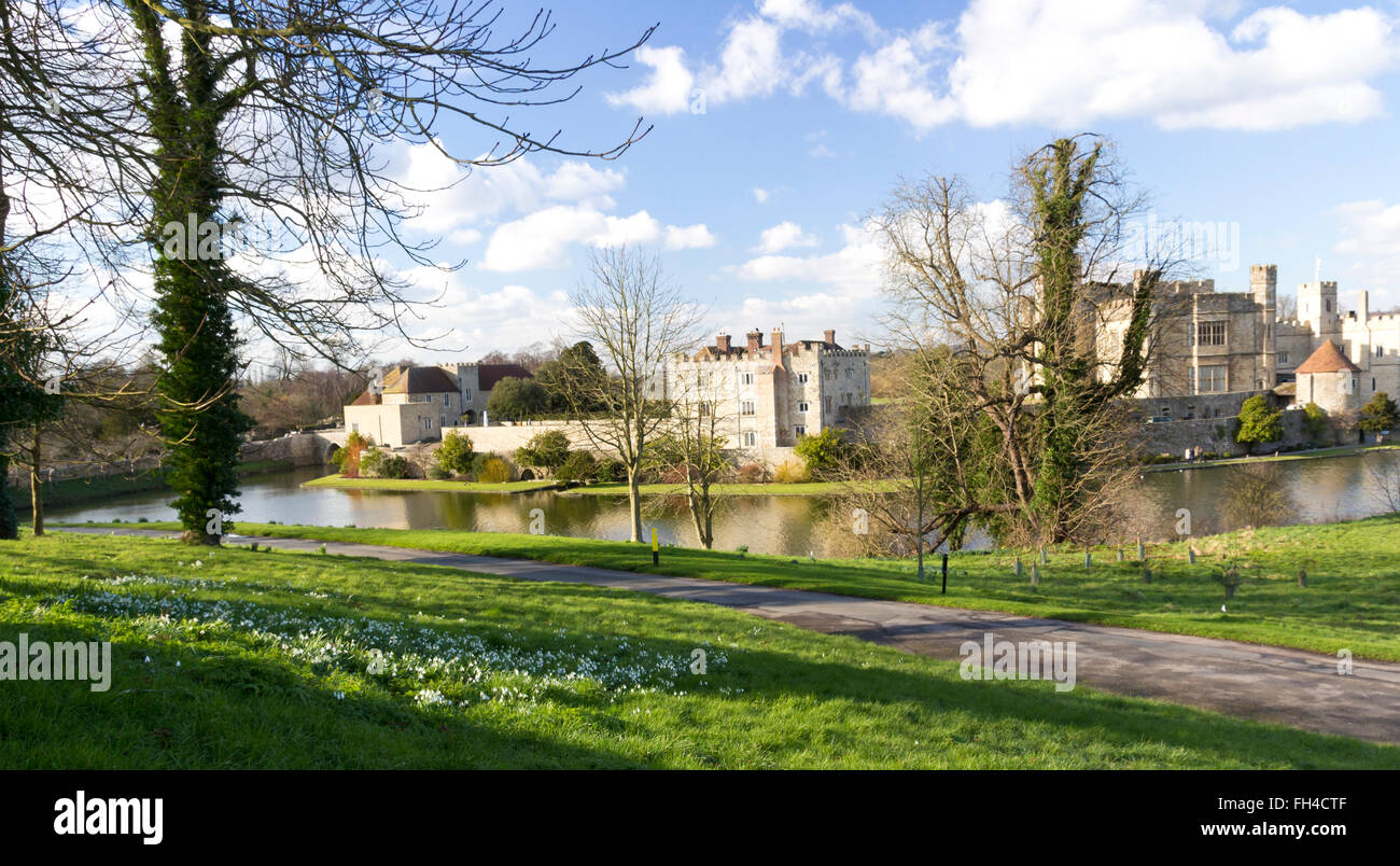 Photograph of Leeds Castle taken in February 2016 and submitted for editorial use only - Stock Image