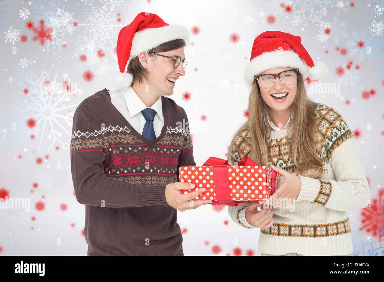 Composite image of geeky hipster couple holding present Stock Photo