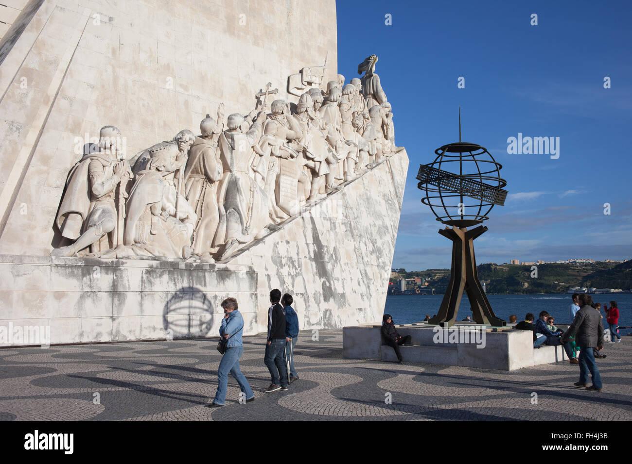 Portugal, Lisbon, Belem, Monument to the Discoveries (Padrao dos Descobrimentos), city landmark - Stock Image