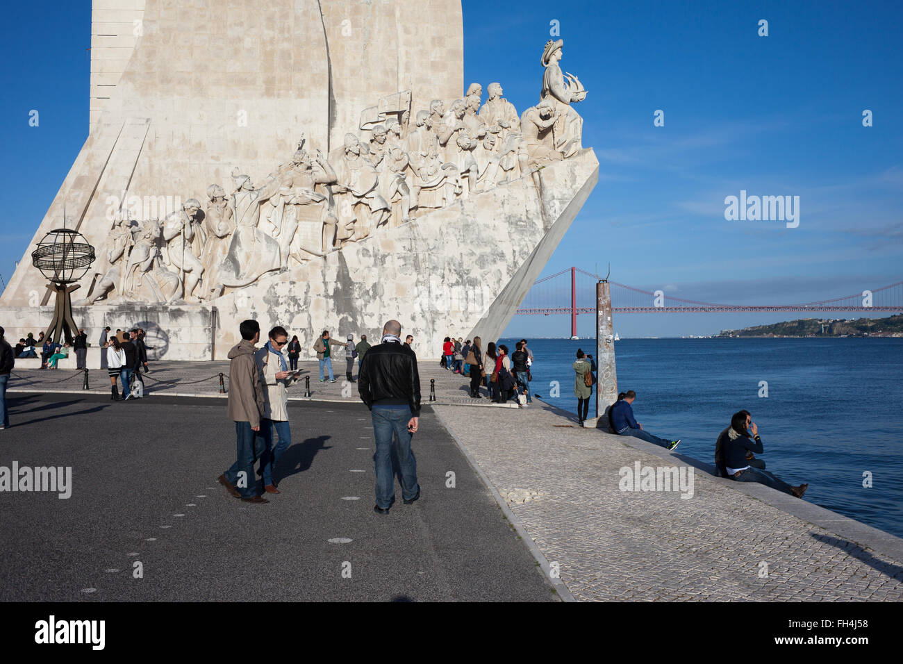 Portugal, Lisbon, Belem, Monument to the Discoveries (Padrao dos Descobrimentos), city landmark, Tagus River waterfront Stock Photo