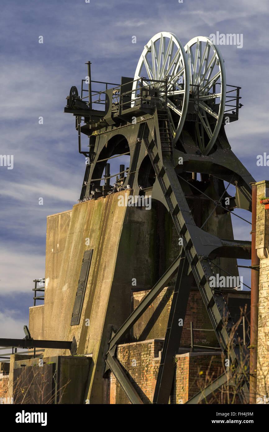 disused coal mine headstocks Stock Photo