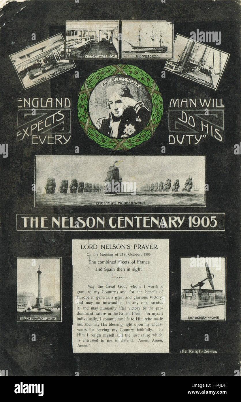 Admiral Nelson Centenary postcard 1905 - Stock Image