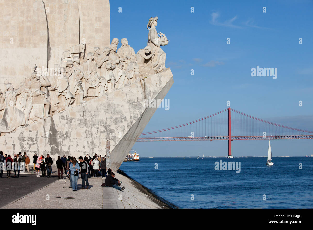 Portugal, Lisbon, Belem, Monument to the Discoveries (Padrao dos Descobrimentos) by the Tagus River and 25 de Abril - Stock Image