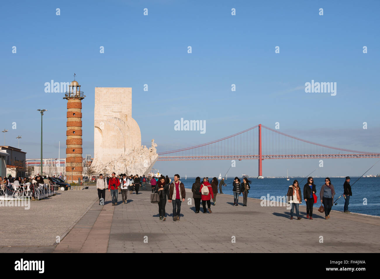 Portugal, city of Lisbon, Belem Lighthouse and Monument to the Discoveries (Padrao dos Descobrimentos), promenade - Stock Image