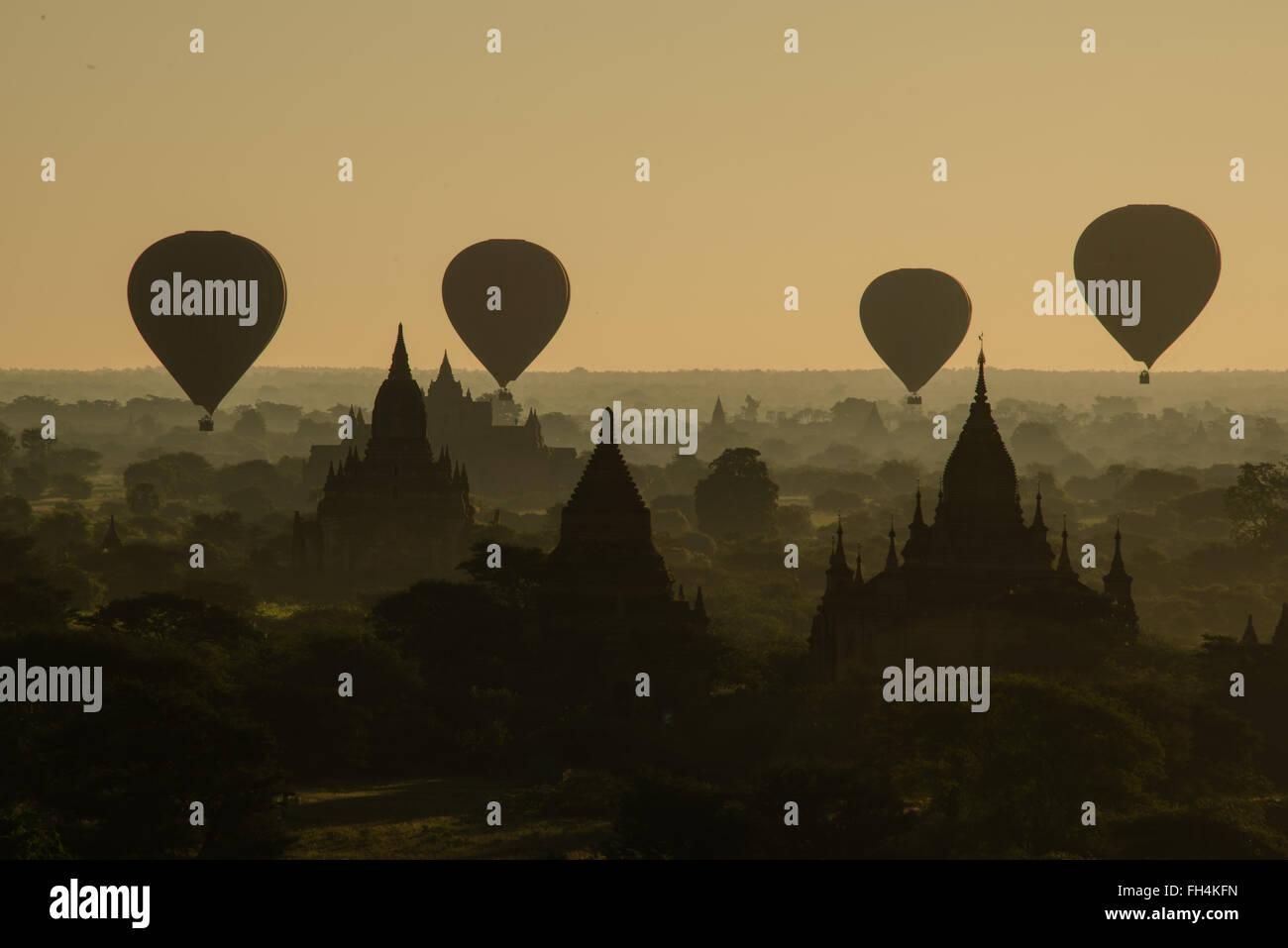Balloons over Bagan - Stock Image