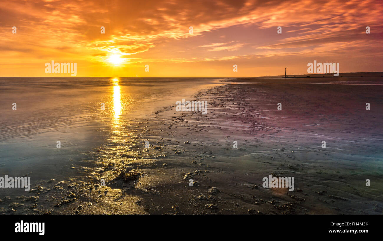 Just spent the weekend at a beach house at Anderby Creek on the East coast of England. Woke up to a spectacular - Stock Image