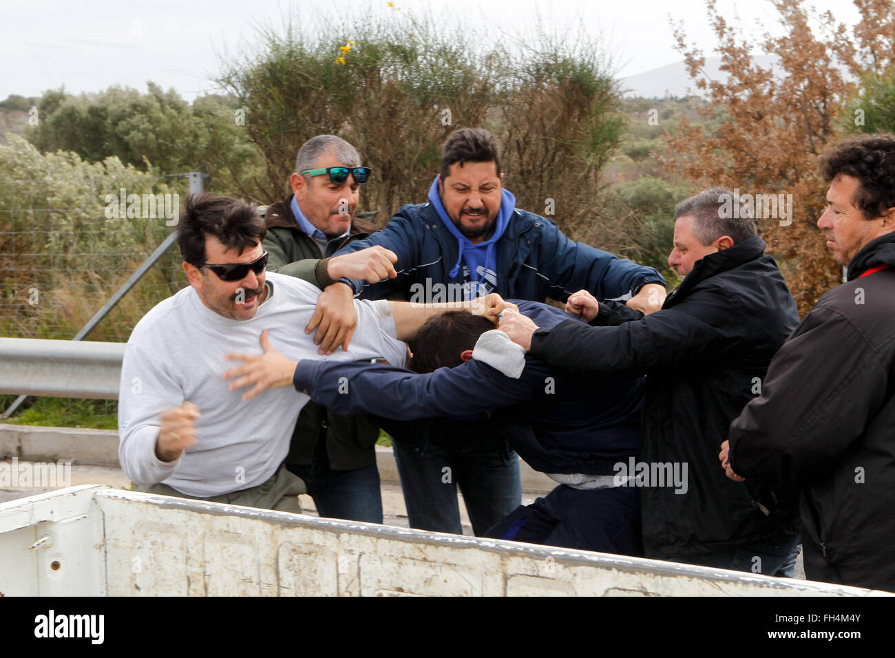 Greek drivers fight in the street - Stock Image
