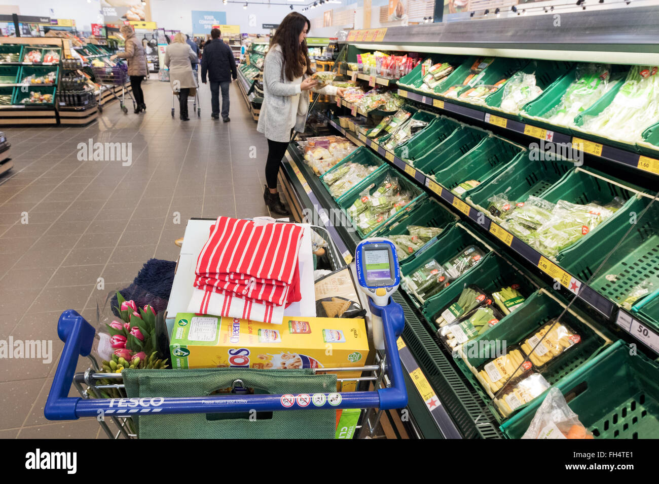 A full shopping trolley in the fruit and vegetables aisle, Tesco supermarket Suffolk UK - Stock Image
