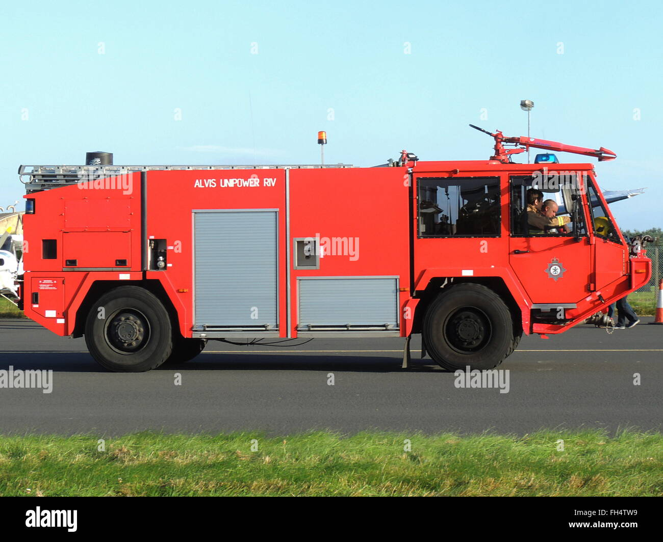 An Alvis Unipower RIV fire tender of the Defence Fire and Rescue Service, at the RAF Leuchars Airshow in September - Stock Image