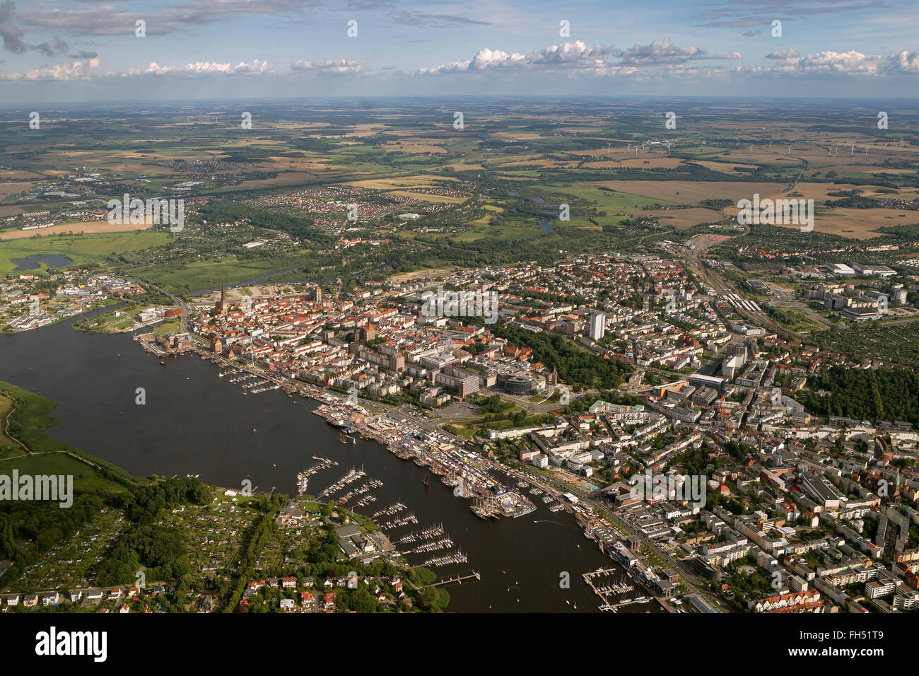 Aerial view, Rostock Hanse Sail, Rostock, Baltic Sea, Baltic Sea, Mecklenburg-Vorpommern, Germany, Europe, Aerial - Stock Image