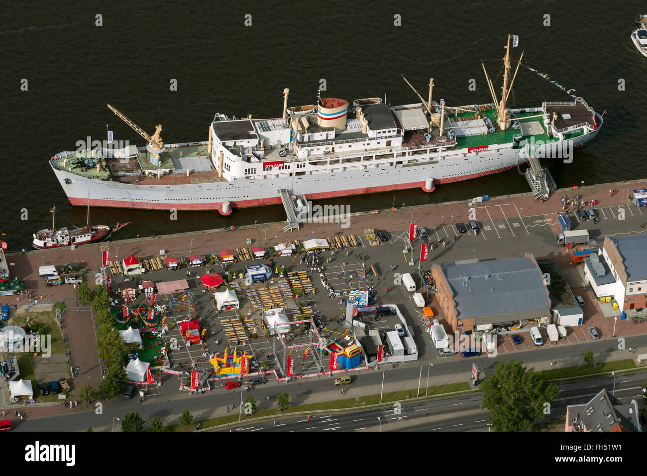 Aerial view, Citti Park, Rostock Hanse Sail, Rostock, Baltic Sea, Baltic Sea, Mecklenburg-Vorpommern, Germany, Europe, - Stock Image