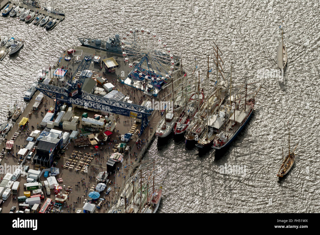 Aerial view, Museum Rostock, Rostock Hanse Sail, Rostock, Baltic Sea, Baltic Sea, Mecklenburg-Vorpommern, Germany, - Stock Image