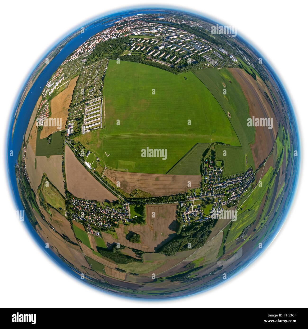 Aerial view, airfield Stralsund, Air Sports Club Volkswerft Stralsund, grass landing strip, Kramerhof, Baltic Sea, - Stock Image