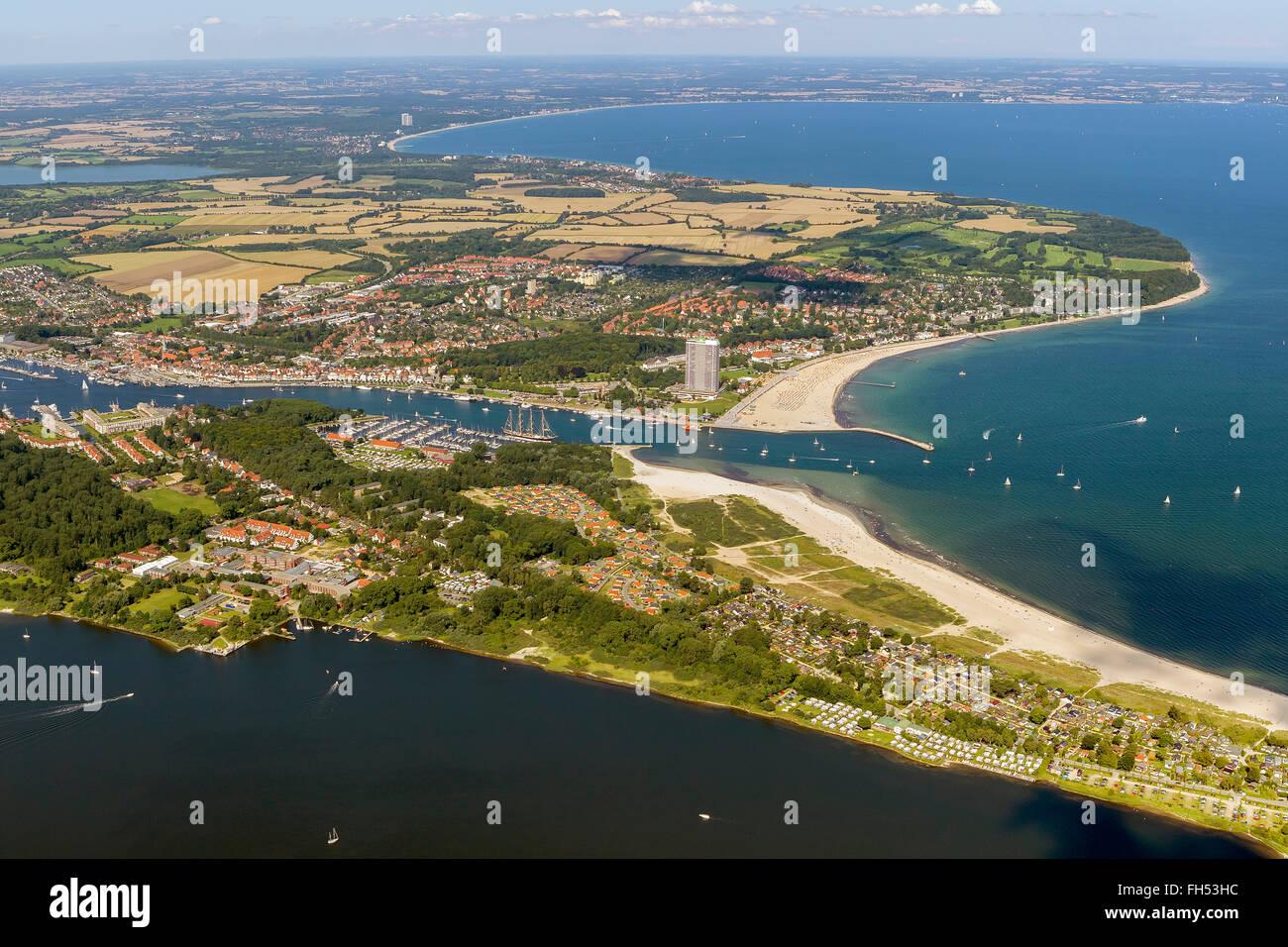 Aerial view, Travemünde, the Baltic resort Kiel Travemuende, Maritim Hotel, beach Hotel, Kiel, Baltic port, - Stock Image